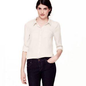 Ann Taylor LOFT Lace Collared Button Down Shirt